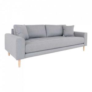 Canapea gri deschis din poliester si lemn pentru 3 persoane Lido House Nordic