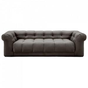 Canapea gri din catifea si lemn pentru 3,5 persoane Cobble Hill Riviera Maison
