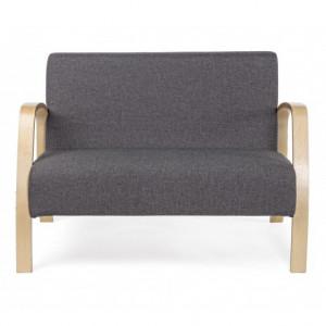 Canapea gri/maro din poliester si lemn pentru 2 persoane Ginevra Bizzotto
