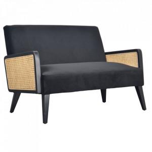 Canapea neagra/maro din catifea si lemn pentru 2 persoane Synergie Opjet Paris