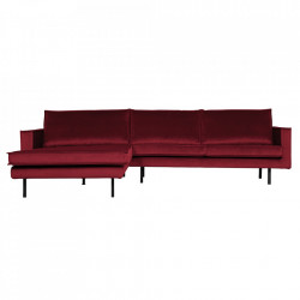 Canapea rosie din poliester si metal cu colt pentru 3 persoane Rodeo Left Be Pure Home