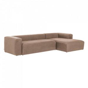Canapea roz din fibre acrilice si lemn de pin cu colt pentru 3 persoane Blok RIght La Forma