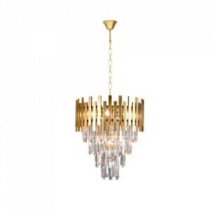 Candelabru auriu din cristal si metal cu 9 becuri Aspen Milagro Lighting