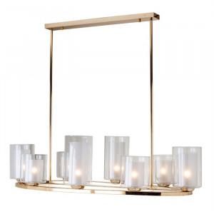 Candelabru auriu/transparent din fier si sticla cu 8 becuri Baele Richmond Interiors