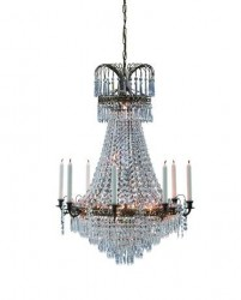 Candelabru transparent/maro cupru din cristal si metal cu 9 becuri Lacko Brilliant Antique Maxi Markslojd