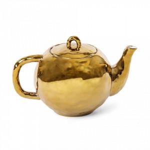 Ceainic auriu din portelan 23,8x15 cm Fingers Seletti