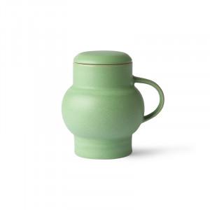 Ceainic verde menta din ceramica 420 ml Bubble L HK Living