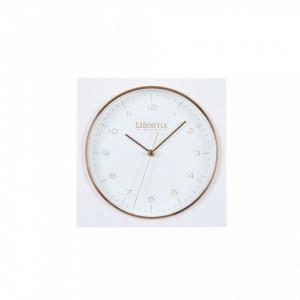 Ceas de masa alb din aluminiu 17x17 cm Amsterdam White LifeStyle Home Collection