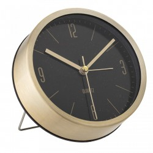 Ceas de masa auriu rotund din aluminiu cu fundal negru 11,5x4 cm Bloomingville