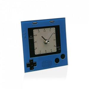 Ceas de masa patrat albastru/negru din sticla 15x15 cm Gameboy Versa Home