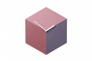 Ceas de perete hexagonal rosu/alb din lemn 26x30 cm Axis Red Shades Bolia