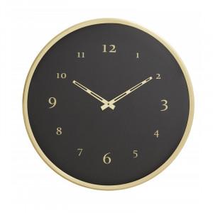 Ceas de perete negru/maro alama din metal si sticla 51 cm Tam Nordal