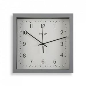 Ceas de perete patrat gri din plastic 23x23 cm Zoe Versa Home