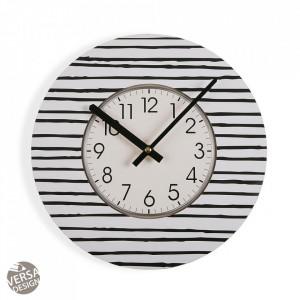 Ceas de perete rotund alb/negru din lemn 29 cm Black Line Clock Versa Home