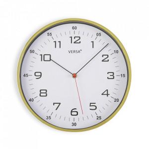 Ceas de perete rotund auriu/alb din plastic 30,5 cm Blige Versa Home