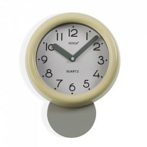 Ceas de perete rotund bej din plastic 19x26 cm Scorpion Versa Home