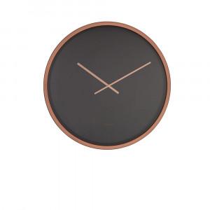 Ceas negru rotund din otel si cupru 60 cm Time Bandit Black/Copper Zuiver