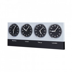 Ceas perete dreptunghiular din metal 25x60 cm World Time Invicta Interior