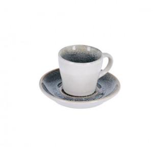 Ceasca albastra/alba din ceramica cu farfurioara Sachi La Forma