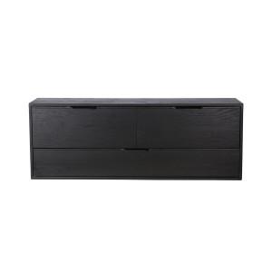 Comoda neagra din placaj si lemn de sungkai 100 cm Carla D HK Living