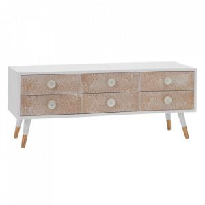Comoda TV cu sertare alba/maro din lemn de pin si MDF 120 cm Lorby Ixia