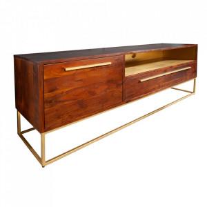 Comoda TV maro/aurie din lemn de salcam 165 cm Straight Invicta Interior