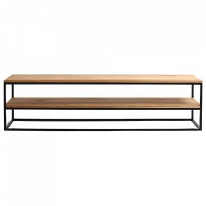 Comoda TV maro/neagra din lemn si metal 180 cm Julita Custom Form