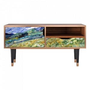 Comoda TV multicolora din MDF si lemn 114,2 cm Landscape From Saint-Rémy By Vincent Van Gogh Sara Furny