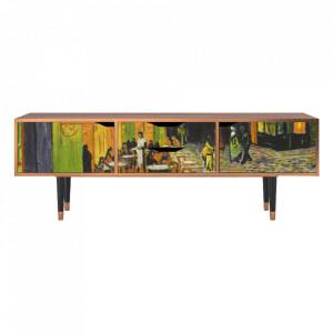 Comoda TV multicolora din MDF si lemn 170 cm Café Terrace At Night By Vincent Van Gogh Eve Furny