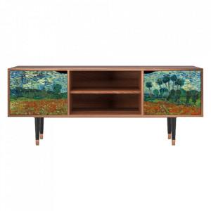 Comoda TV multicolora din MDF si lemn 170 cm Poppy Field By Vincent Van Gogh Lara Furny