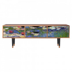 Comoda TV multicolora din MDF si lemn 170 cm The Water Lily Pond By Claude Monet Eve Furny