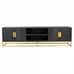 Comoda TV neagra/aurie din lemn si inox 220 cm Blackbone Unit Gold Richmond Interiors