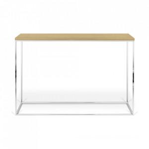 Consola maro/argintie din lemn si otel 120 cm Gleam TemaHome