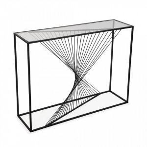Consola neagra din metal si sticla 107 cm Konrad Versa Home