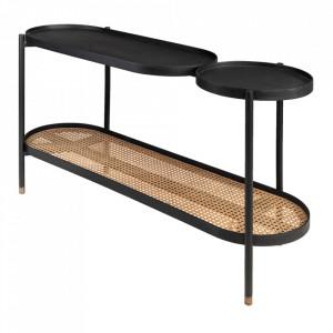 Consola neagra/maro din lemn de mindi si otel 134 cm Amba Versmissen