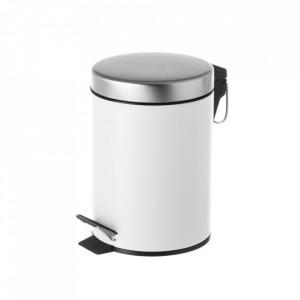 Cos de gunoi alb/argintiu din metal 3 L Burna Unimasa