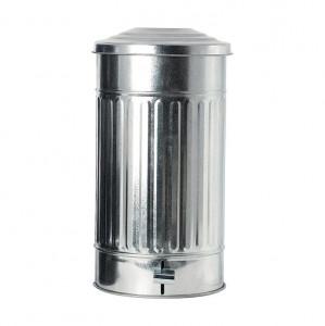 Cos de gunoi metal argintu 24 L Zinc House Doctor