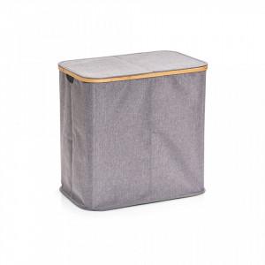 Cos de rufe gri din poliester si lemn 50x53,4 cm Laundry Collector Bamboo Bigger Zeller