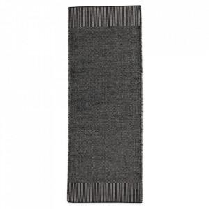 Covor alb/gri din lana si iuta 75x200 cm Rombo Woud