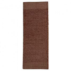 Covor alb/maro ruginiu din lana si iuta 75x200 cm Rombo Woud
