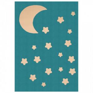 Covor albastru pentru copii din polipropilena 140x200 cm Moon and Stars Zala Living