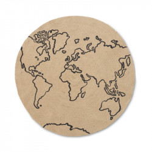 Covor crem/negru din iuta 100 cm World Ferm Living