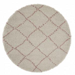 Covor crem/roz din polipropilena Allure Hash Cream Rose Round Mint Rugs (diverse dimensiuni)