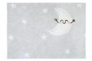 Covor dreptunghiular gri din bumbac pentru copii 120x160 cm Happy Moon Lorena Canals