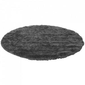 Covor gri carbune din poliester si lana 200 cm Bossa Bolia