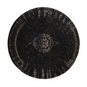 Covor gri inchis/negru din bumbac si poliester 140 cm Grand Nordal