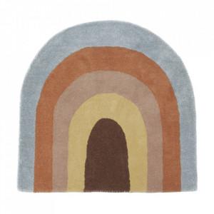 Covor multicolor din lana si bumbac 88x90 cm Rainbow Tim Oyoy