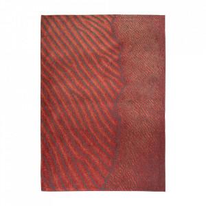 Covor rosu din bumbac si poliester Waves Orinoco Flow Louis de Poortere (diverse dimensiuni)