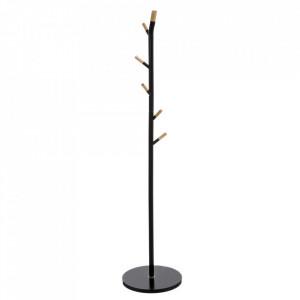 Cuier negru/maro din lemn si otel Bamboo Hanger Black Unimasa
