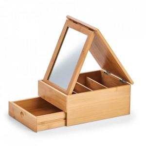 Cutie cu oglinda maro din lemn pentru bijuterii Mullaz Zeller